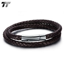 TT Double-Row Brown Leather 316L Stainless Steel Bracelet (BR213H) NEW Arrival
