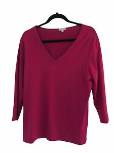 Kettlewell Pink Size LL V Neck Top Long Sleeve