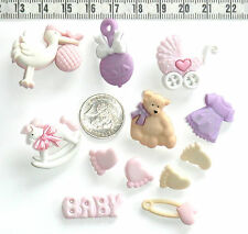 Novelty Buttons Scrapbooking Embellishments Baby Girl New Baby Infant  # 287