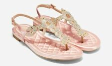 COLE HAAN WOMEN'S PINCH LOBSTER SATIN SANDALS,CORAL-SIZE 9.5