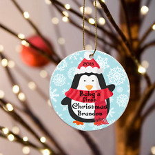"""Personalized Babys First Christmas Boys Blue Penguin Ornament 3"""" Flat One sided"""
