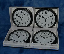 """Lot of 4 Mainstays Sterling and Noble 8.78"""" Analog Display Wall Clocks - Black"""