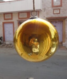 Antique Old Collectible Round Shape Golden Kugel Christmas Tree Decor Ornaments