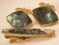 Green Abalone Mother of Pearl Vintage Cuff Links Tie Bar set gift shell