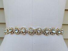 Wedding Belt, Wedding Sash, Bridal Sash, Rhinestones with Gold Accents