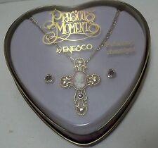 Precious Moments Birthstone Cross & earrings set February Amethyst w/cameo 1996