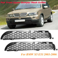 2x Front Upper Bumper Mesh Grille Black For BMW X5 E53 2003-2006 Facelift New