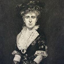 Pointe sèche portrait Mme G gravé par Edmond Joseph Ramus 1880