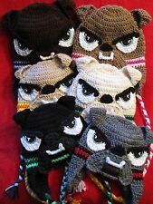 Crochet Bulldog Hats w/Ear Flaps & Ties for 3-6 months/6-12 months/Toddler/Child