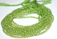 "Natural Peridot Gemstone Rondelle Faceted Loose  Beads 3-4 mm 13""Inches  1Strand"