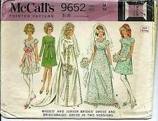M 9652 sewing pattern 60's Bride GOWN Bridesmaid Wedding DRESS sew TRAIN size 14