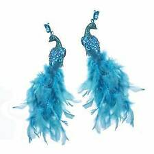 Set of 2 Teal Feather Glitter Peacock Clips w