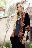 💕 JOHNNY WAS Silk Velvet JWLA embroidered ELIM Draped Jacket Cardigan S $368 💕