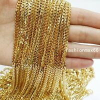 Wholesale In Bulk 4mm Gold Stainless Steel Curb Cuban Chain Necklace DIY Jewelry