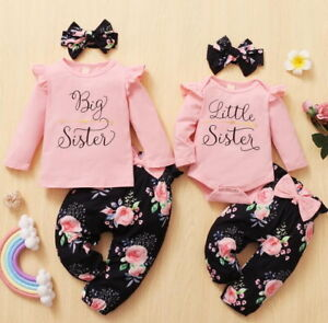 Newborn Baby Infants Girls 3Pcs Tops Floral Pants Headband Sister Clothes Outfit