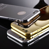 For iPhone 5 5S 6& 6 Plus Aluminum Metal Bumper Mirror Back Case Slim Hard Cover