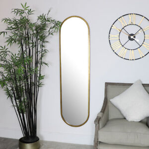 Large Gold Oval Mirror tall slim home decor minimalist scandi wall mounted