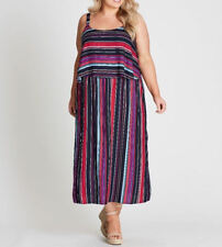 Autograph overlay Stripe Lined top summer beach party DRESS size 24 NEW