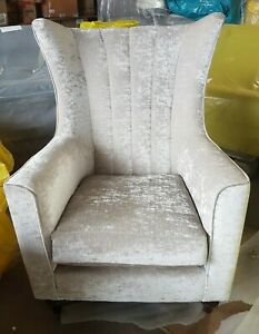 FURNITURE VILLAGE CLOUDY BAY ACCENT CHAIR ARMCHAIR WING CHAIR CHAMPAGNE NEW