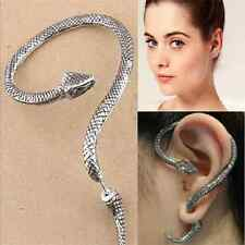 1PC Fun Cool Unisex Gothic Snake Temptation Silver Ear Stud Cuff Wrap Earring FT