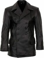 Men's German Naval Military Pea Coat Black Sheepskin Genuine Leather Jacket WWii