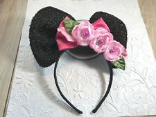 TODDLER GIRL PLASTIC HEADBAND MINNIE INSPIRED BOW FLOWERS BLACK PINKS RED ROSE