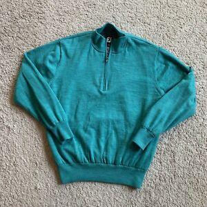 FootJoy Mens Medium Green 1/2 Zip Wool Pullover Lined Performance Sweater AA10