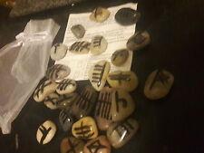 Handmade Celtic Ogham Natural River Rock Rune Stone Set Divination Reiki Wicca
