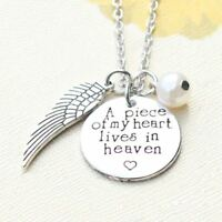 *UK* 925 SILVER PLT 'A PIECE OF MY HEART LIVES IN HEAVEN' LOSS ENGRAVED NECKLACE