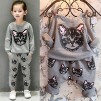 Toddler Kids Clothes Cat Sweatshirt Pants Outfits Tracksuit Baby Girls 2pcs Set