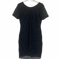 Emerge Womens Black Lace Short Sleeve Lined Party Cocktail Dress Size 10