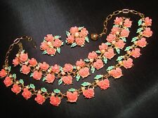 VINTAGE FAUX CORAL CELLULOID ROSES FLOWERS NECKLACE BRACELET EARRINGS PARURE SET