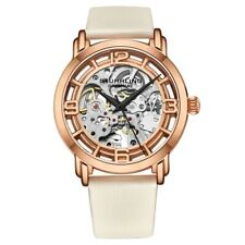 Stuhrling 3982 5 Winchester Automatic Skeleton White Leather Womens Watch