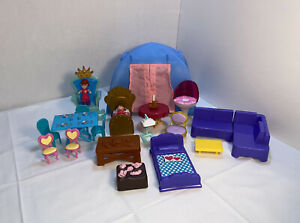 Lot Of Mixed Doll House Furniture And Accessories Includes a Tent.