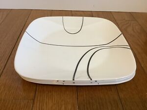 Set of 4 CORELLE 'SIMPLE LINES' SQUARE WHITE DINNER PLATES
