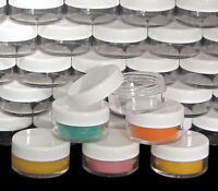 100 Cosmetic Jars Empty 10 Gram Plastic Beauty Containers Clear Lids 10 Ml .5066