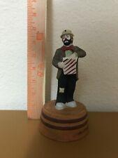 Emmett Kelly Jr Figurine music box holding popcorn and signed on Base. Flambro