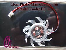 Clear Plastic Mini Cooling Fan Heatsink Cooler DC 12V for PC Computer CPU UK