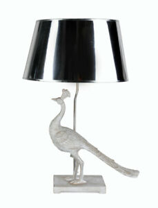 Table Lamp Peacock Silver Light Bird Bedside Lamp Table Desk Lamp Peacock 72cm