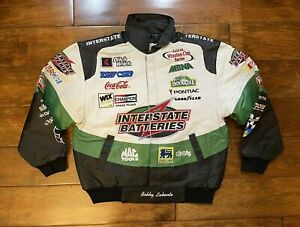 Bobby Labonte #18 Interstate Batteries Leather Race Jacket Men Size Large NASCAR