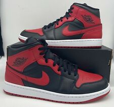 "Nike Air Jordan 1 Retro Mid ""Banned"" 554724/554725-074 Black Red Mens/GS Size"