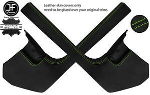 GREEN STITCH 2X LOWER SIDE KICK PANEL SILL LEATHER COVERS FITS AUDI A4 B8 08-15