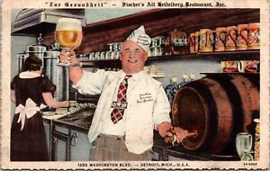 Linen Postcard Fischer's Alt-Heidelberg Restaurant in Detroit, Michigan~4129