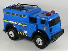 Battery Operated Police Vehicle Armored Truck Toy Blue Car Lights Sounds