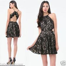 NWT bebe black ivory nude overlay lace open back straps flare dress M medium 8