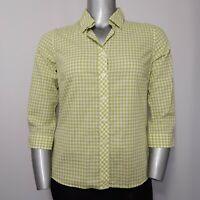 Pendleton Top Medium Womens Green White Gingham Plaid 3/4 Sleeve Button Collar