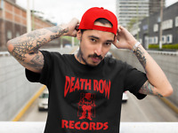 Death Row Records Red Logo T Shirt Vintage Rap Tee Hip Hop Dr Dre Snoop Black