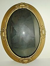 "Vintage Victorian Frame Ornate Gold Gilt Wood & Gesso Convex Glass 23"" x 17.25"""
