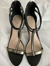 VINCE CAMUTO LADIES HEELS BLACK AND GOLD WORN ONLY ONCE