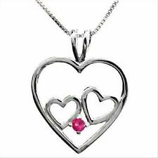 Silver .925 PINK SAPPHIRE stone 2 HEART Pendant NR